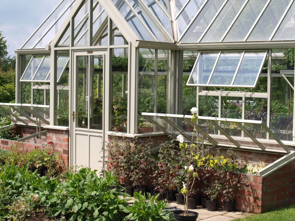 Greenhouse with cold frames built into the foundation.